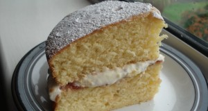 Making delicious cream for a sponge cake