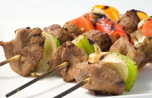 cook beef shish kebab