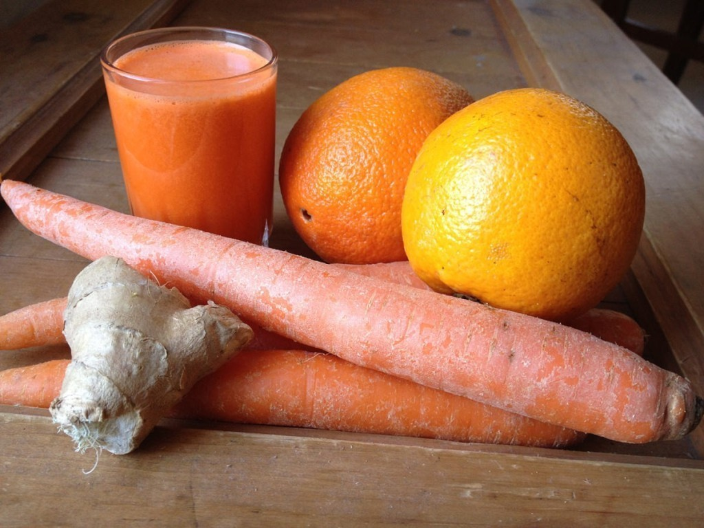 Orange, carrot, and ginger juice