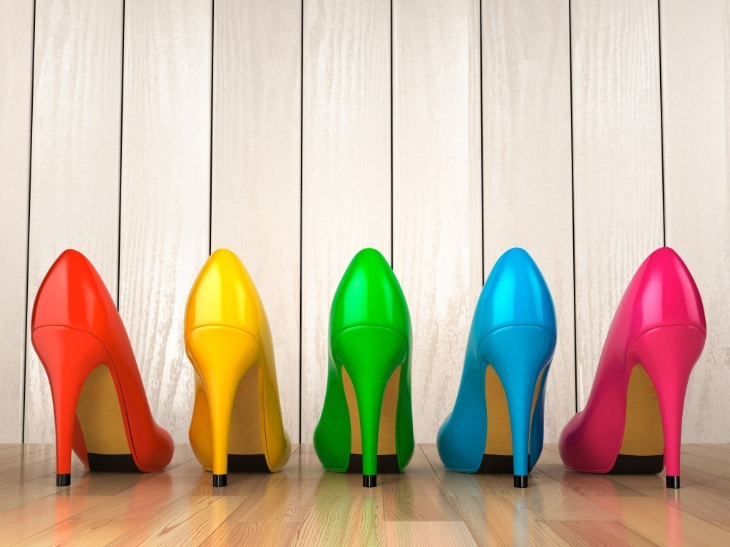 high-heeled shoes different colors