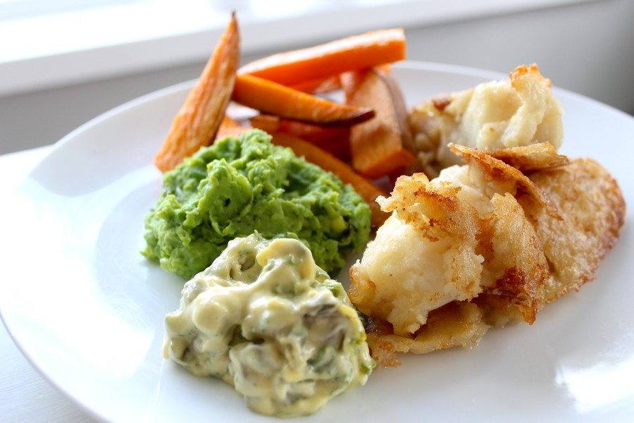 Cod with mashed peas