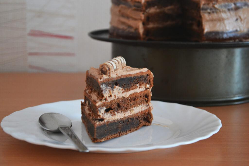 Biscuit cream with chocolate cream
