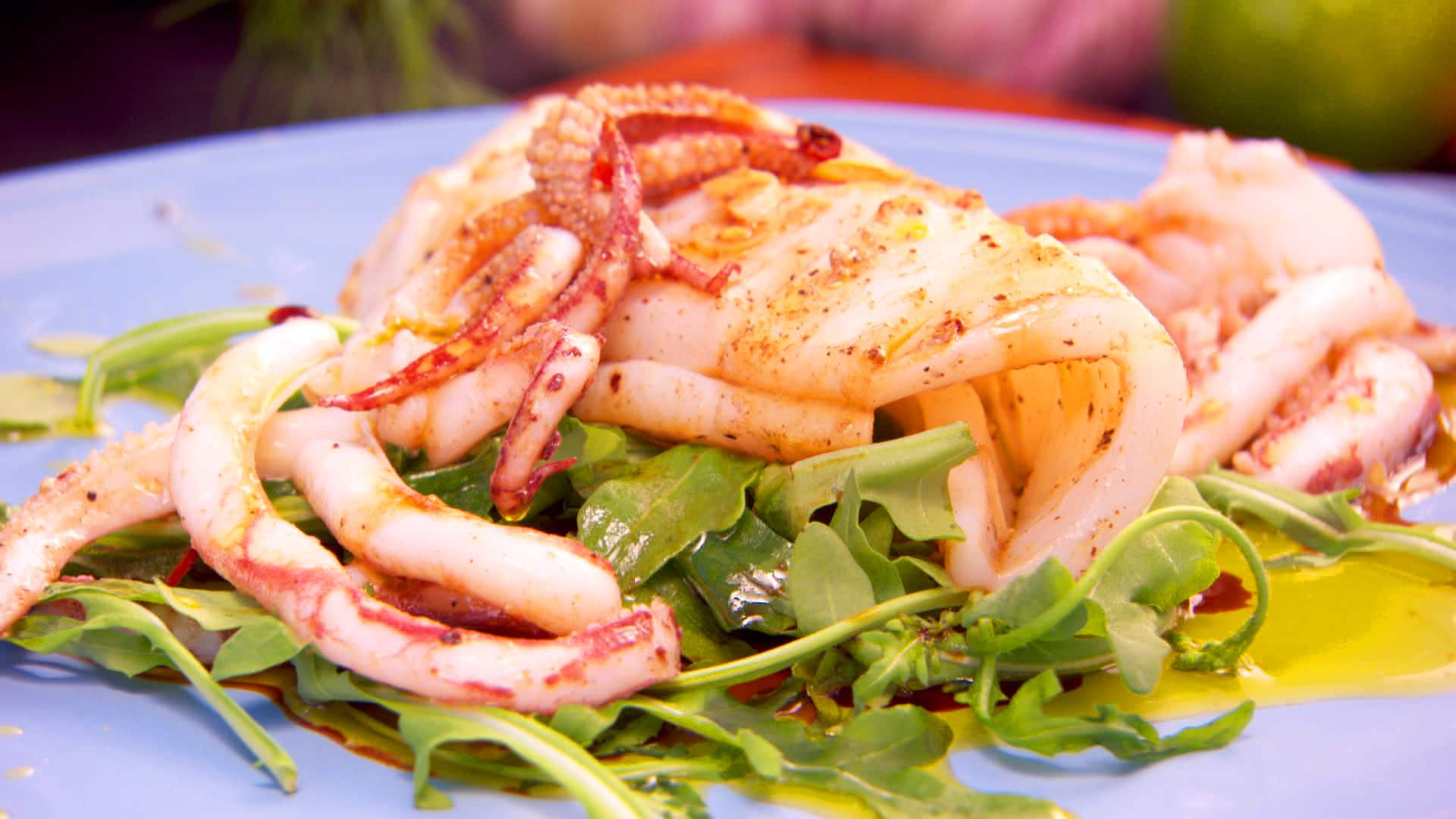Squid salad with apples and cheese