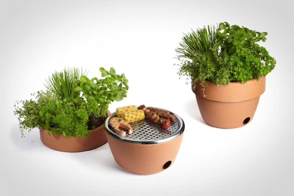 Barbeque and garden pot, two in one