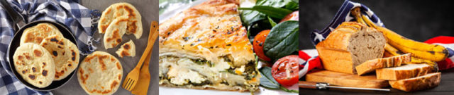 3-Easy-Delicious-Stuck-at-Home-Recipes, Skillet Bread, Cheese Spinach Pie, Banana Bread Cake